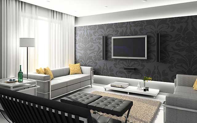 Дизайн интерьера в серых тонах.