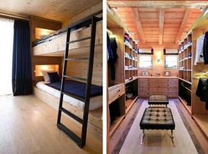 Двухэтажная кровать в спальне и гардеробная комната