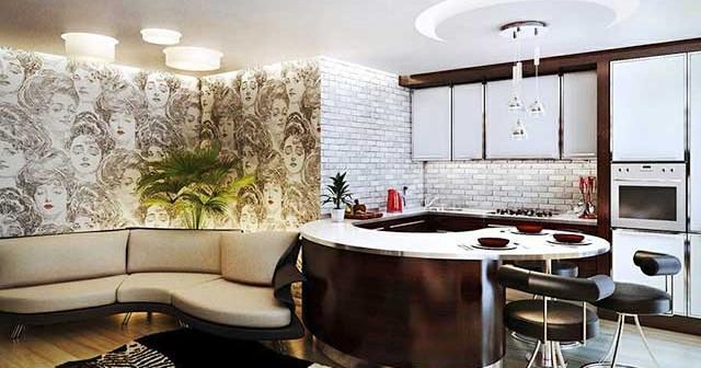 Дизайн интерьера кухни, совмещенной с гостиной.
