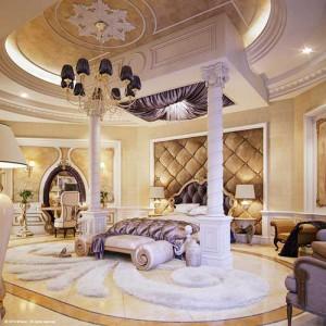 Роскошная спальня с элементами декаданс в интерьере