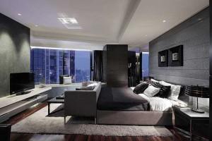 Хай-тек спальня в современном небоскребе