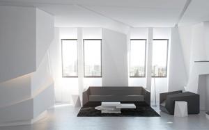 Модель интерьера гостиной в стиле кубизм
