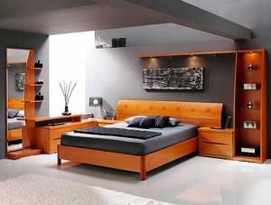 Интерьер спальни в стиле хай-тек.