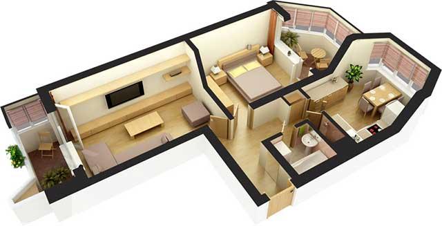 Дизайн 3-х комнатной квартиры 75 квметров (20 фото)