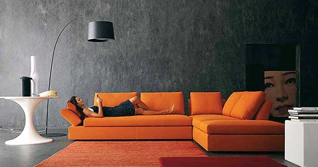 Сочетание оранжевого цвета в интерьере.