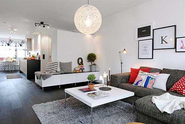 Современная организация пространства в небольшой квартире.